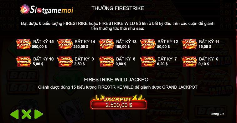 tiền thưởng nổ hũ Fire Strike